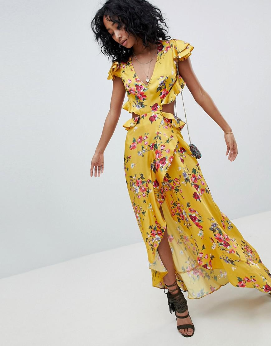 6e1ae554a97be ASOS. Women's Ruffle Maxi Dress With Cut Out Back In Yellow Floral Print