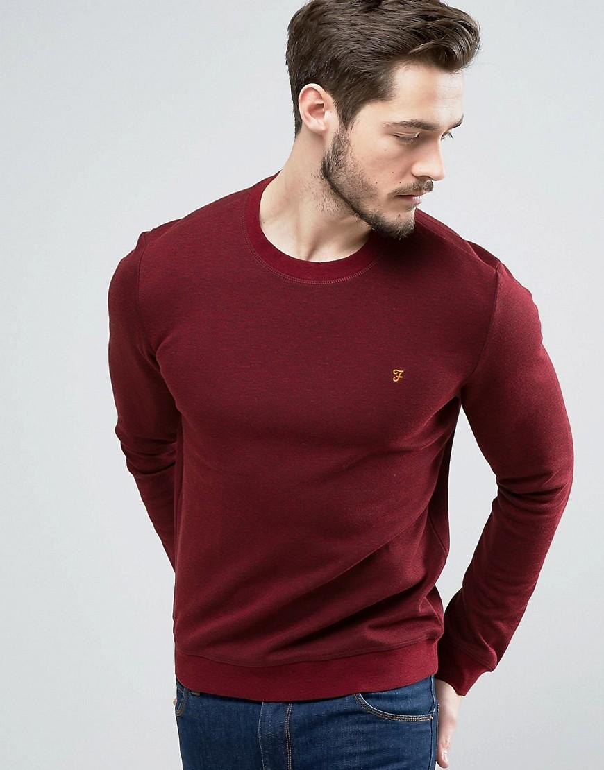Farah Tiller Crew Sweat Slim Fit In Red Marl In Red For