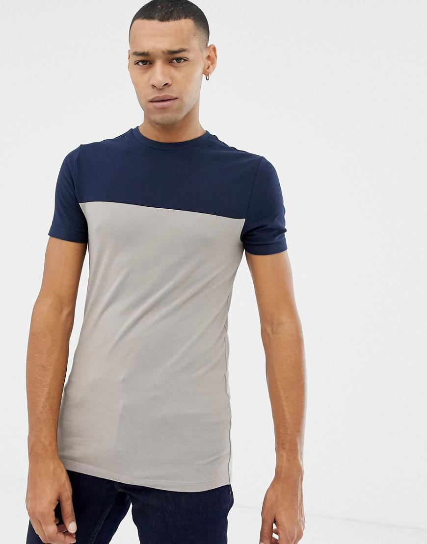 2cc1cd1cf Lyst - ASOS Muscle Fit T-shirt With Contrast Yoke In Beige in ...