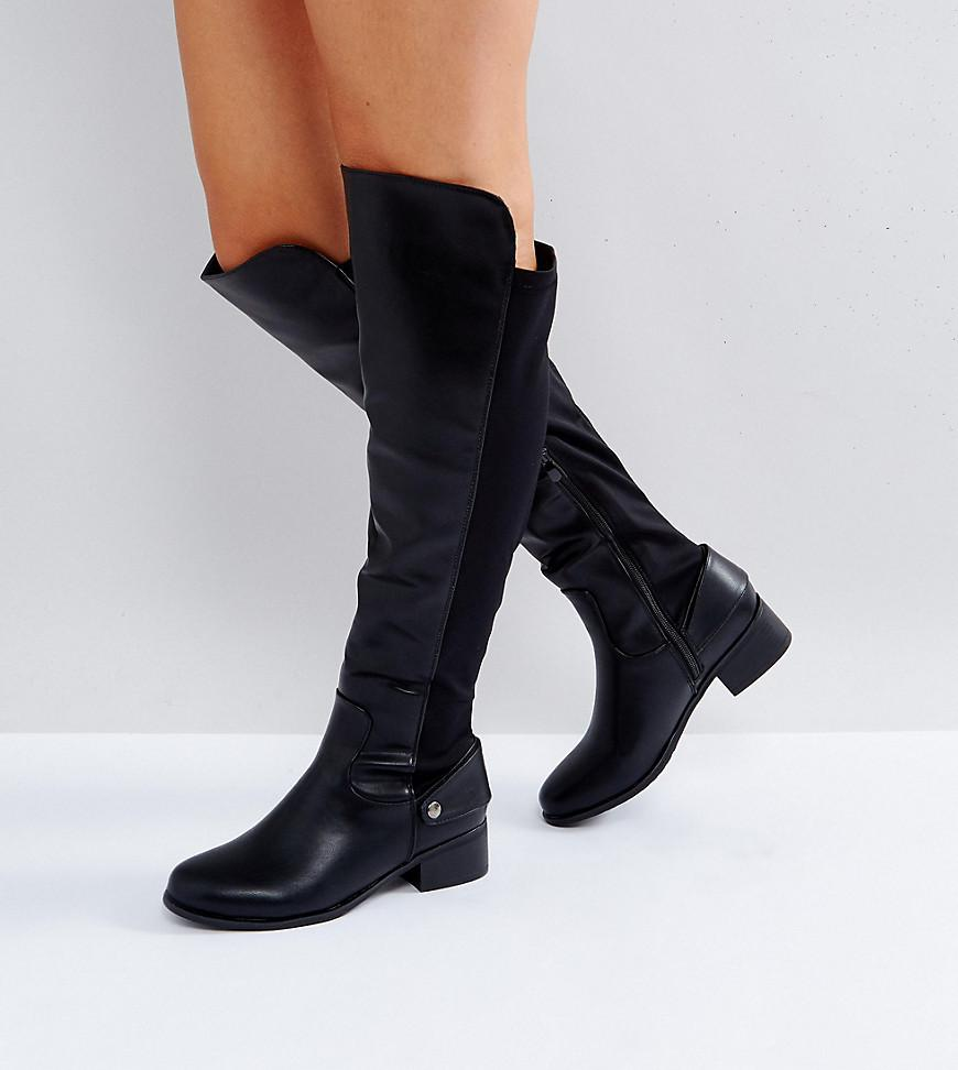 9b6fa0f4e12 Lyst - Truffle Collection Wide Fit Flat Elasticated Over Knee Boot ...