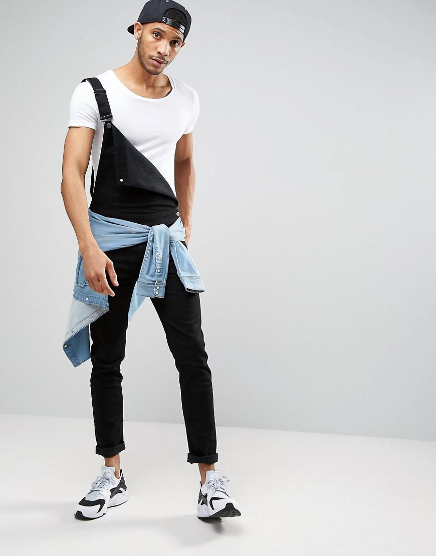 get online wholesale search for newest ASOS Skinny Denim Overalls In Black for men