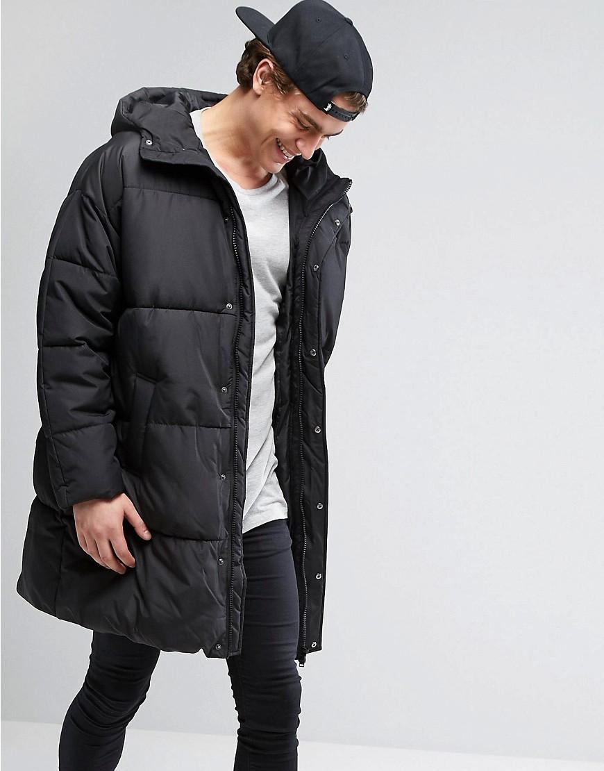 Asos Puffer Jacket In Oversized Fit With Hood In Black For