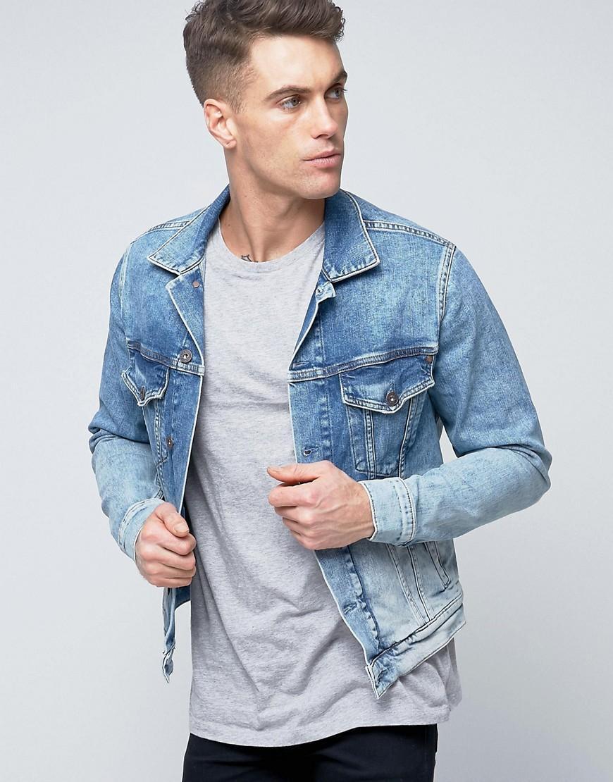pepe jeans pepe denim jacket bleach archive wash in blue. Black Bedroom Furniture Sets. Home Design Ideas