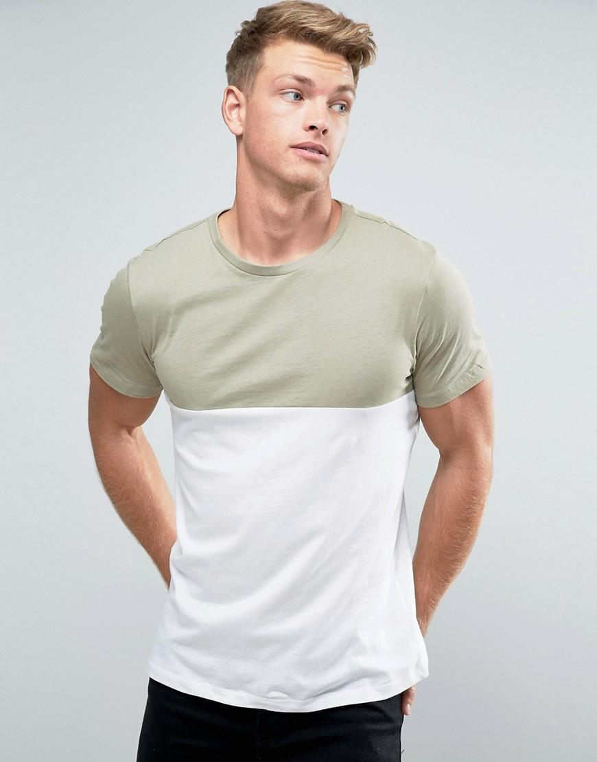 Lyst New Look Colour Block T Shirt In Light Green In