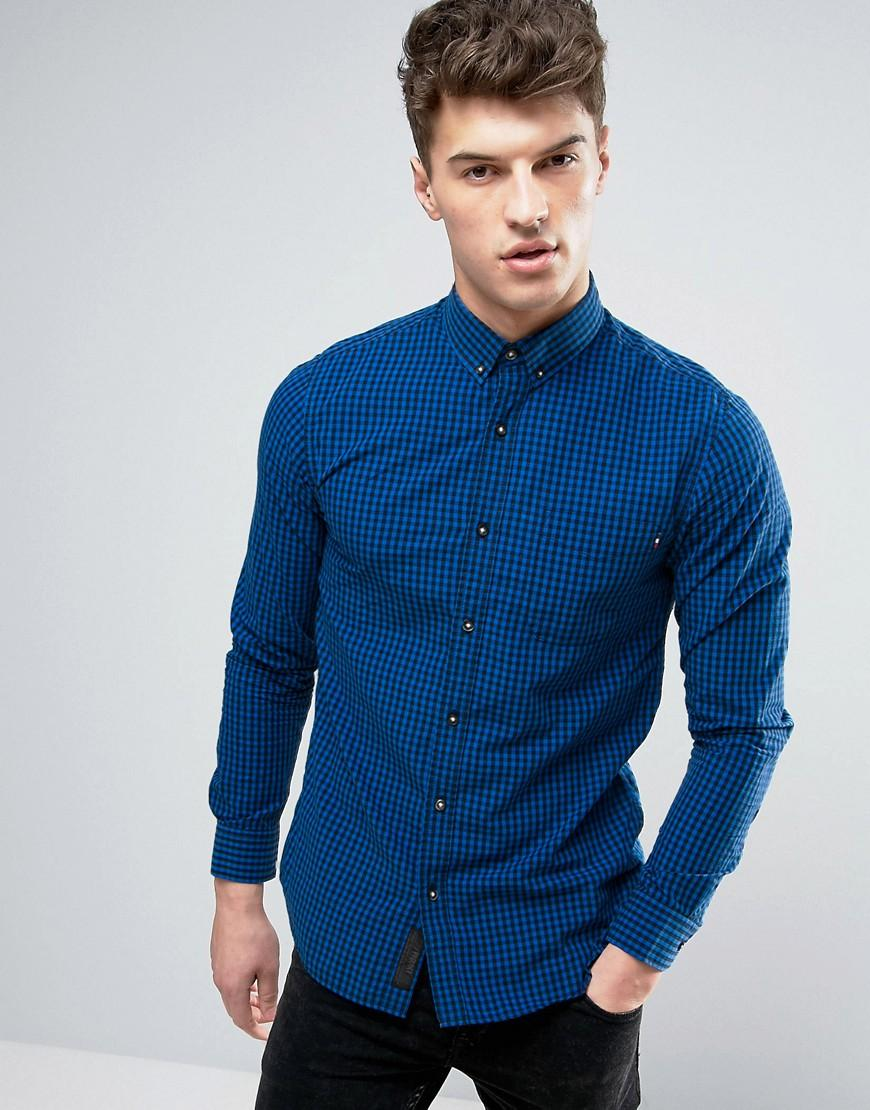 Lyst produkt shirt in gingham check in blue for men for Mens blue gingham shirt
