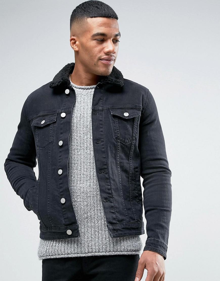 Lyst - Asos Skinny Denim Jacket With Borg Collar In Black ...