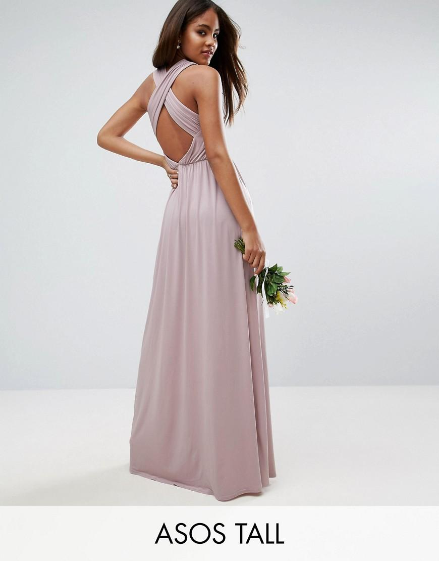 Asos wedding drape twist back maxi dress in purple lyst for Purple maxi dresses for weddings