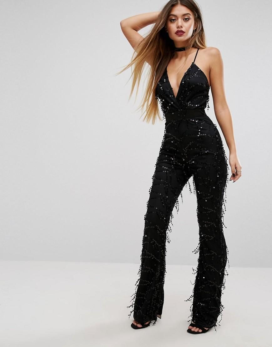 004a0561ee08 PrettyLittleThing Sequin Plunge Jumpsuit in Black - Lyst