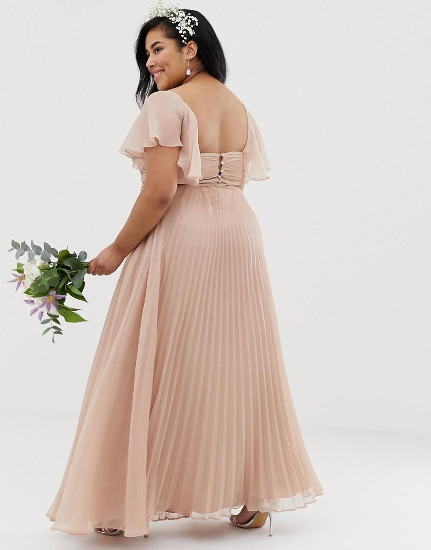 5d080c02a0b ASOS Asos Design Curve Bridesmaid Pleated Bodice Maxi Dress With Flutter  Sleeve in Pink - Lyst