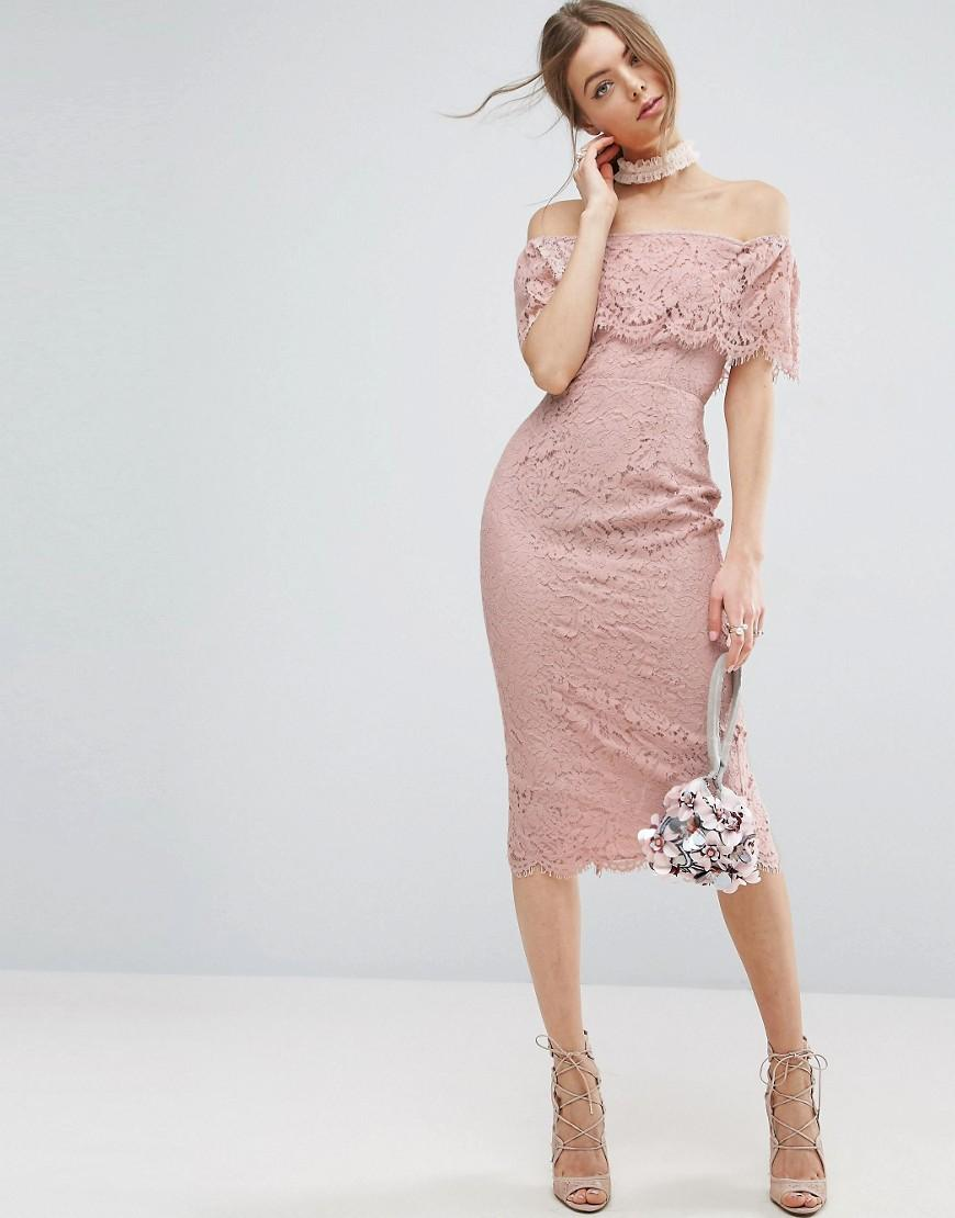 asos lace bardot pencil midi dress in pink lyst. Black Bedroom Furniture Sets. Home Design Ideas