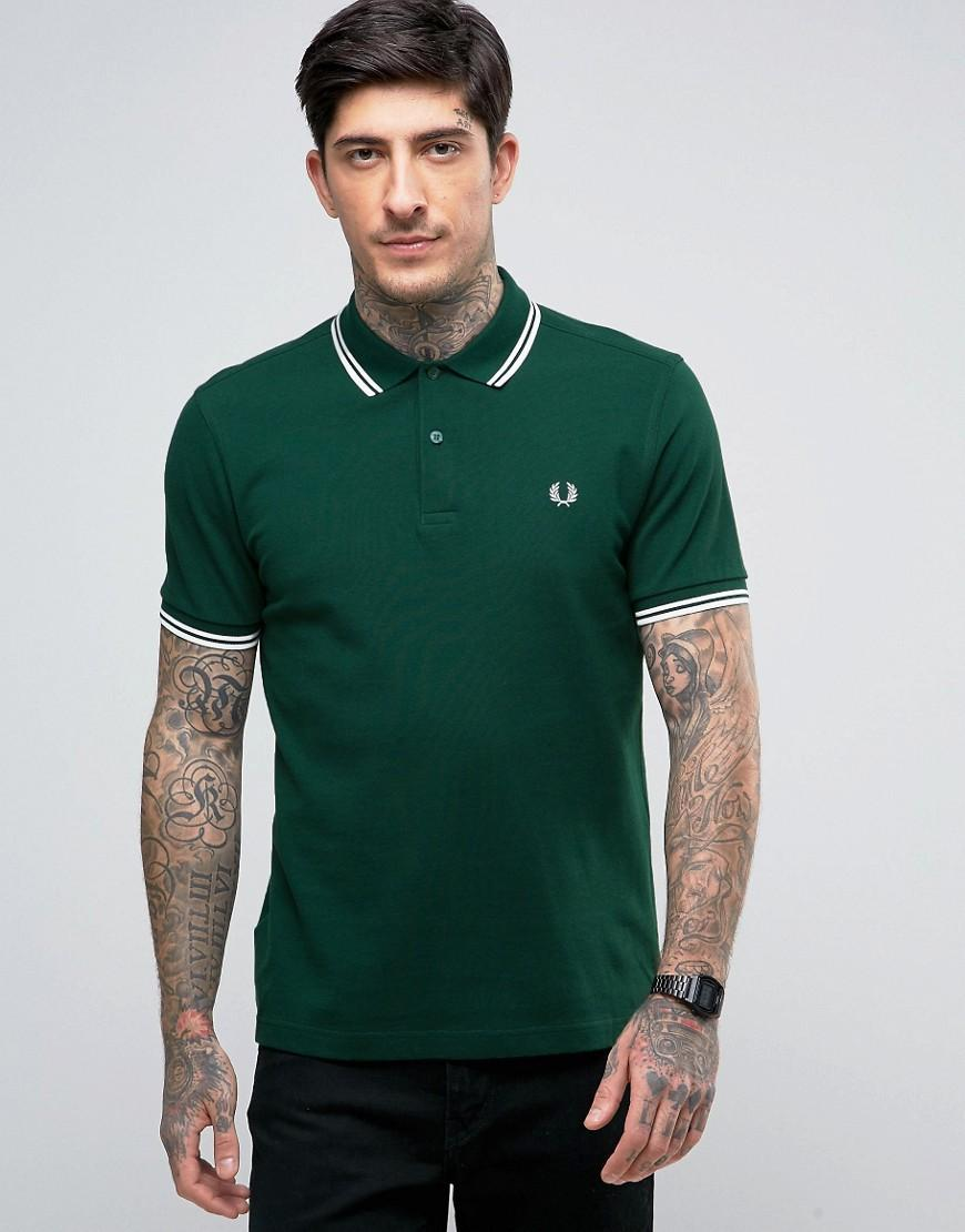 Fred Perry Slim Pique Polo Tramline Tipped In Green in ...