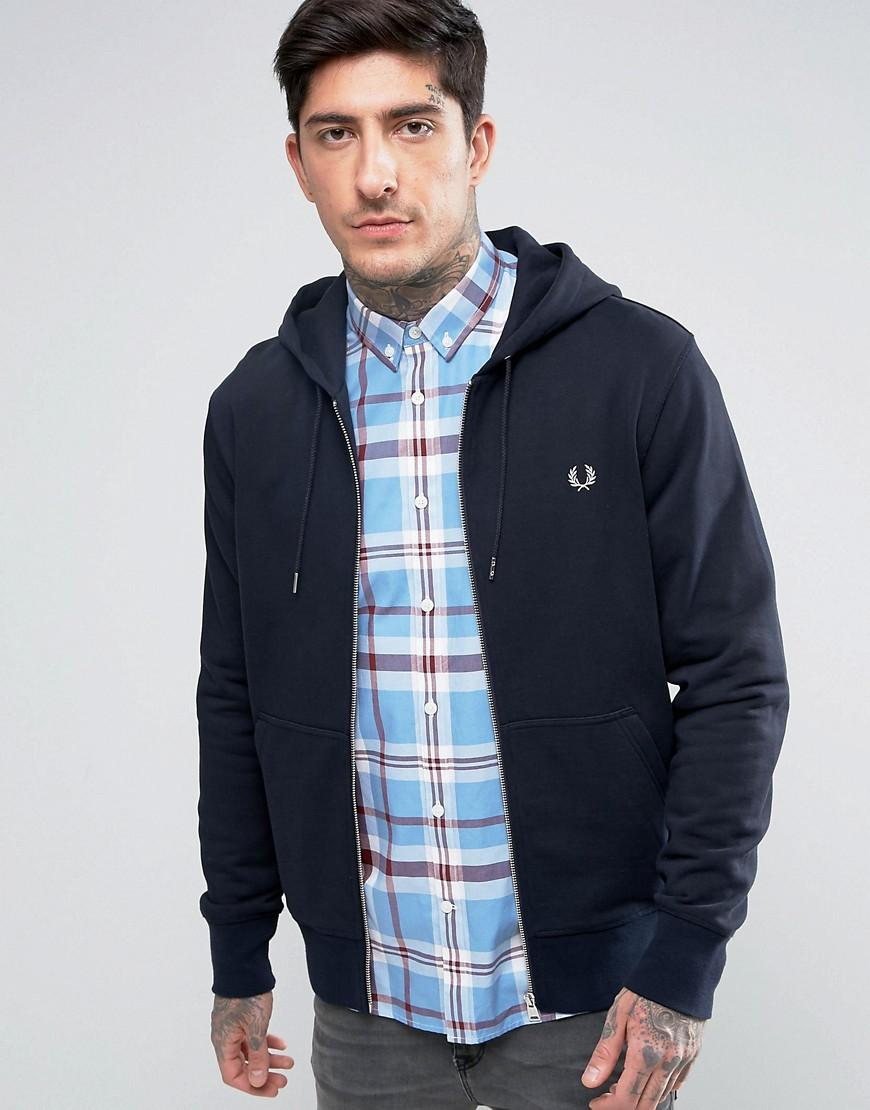 fred perry zip through hoodie in navy in blue for men lyst. Black Bedroom Furniture Sets. Home Design Ideas