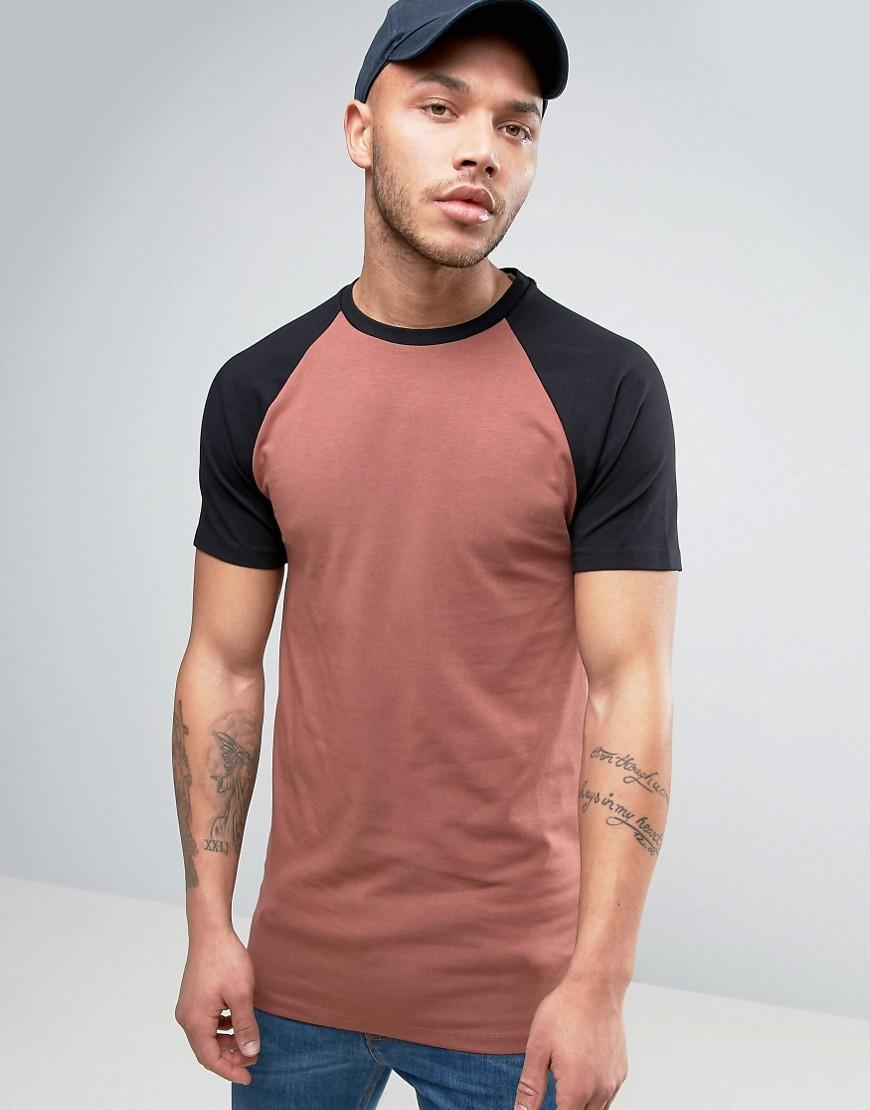 Asos Longline Muscle T-shirt With Contrast Raglan Sleeves ...