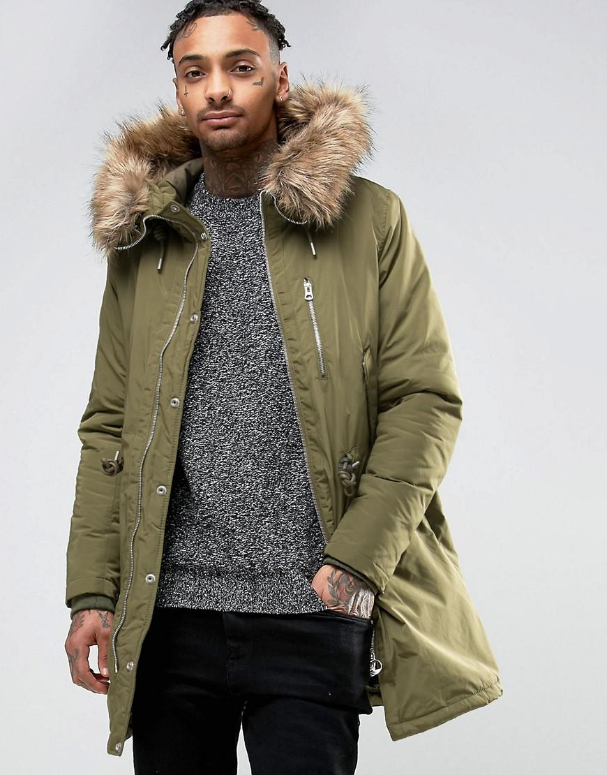 pull bear parka with faux fur hood in khaki in green for. Black Bedroom Furniture Sets. Home Design Ideas