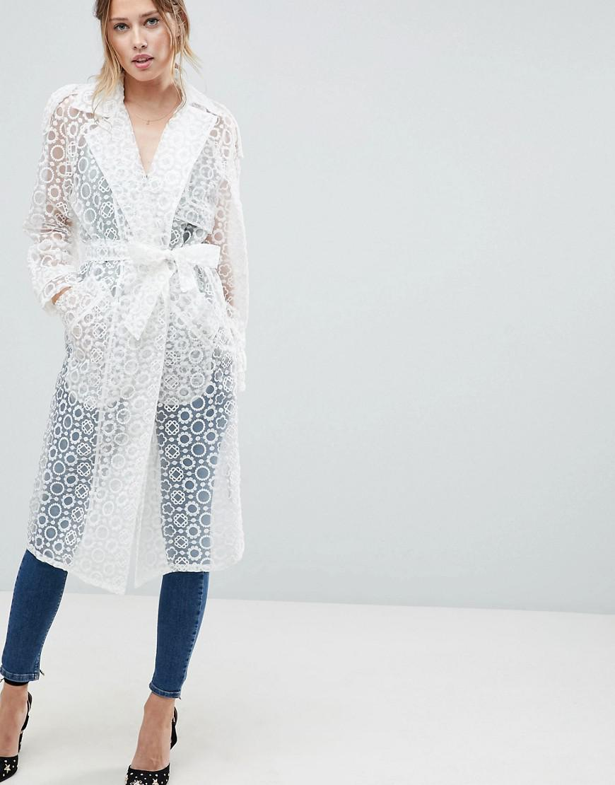 Image result for NewAA New BCBGMAXAZRIA Calico Sheer Organza Trench Coat, Off White