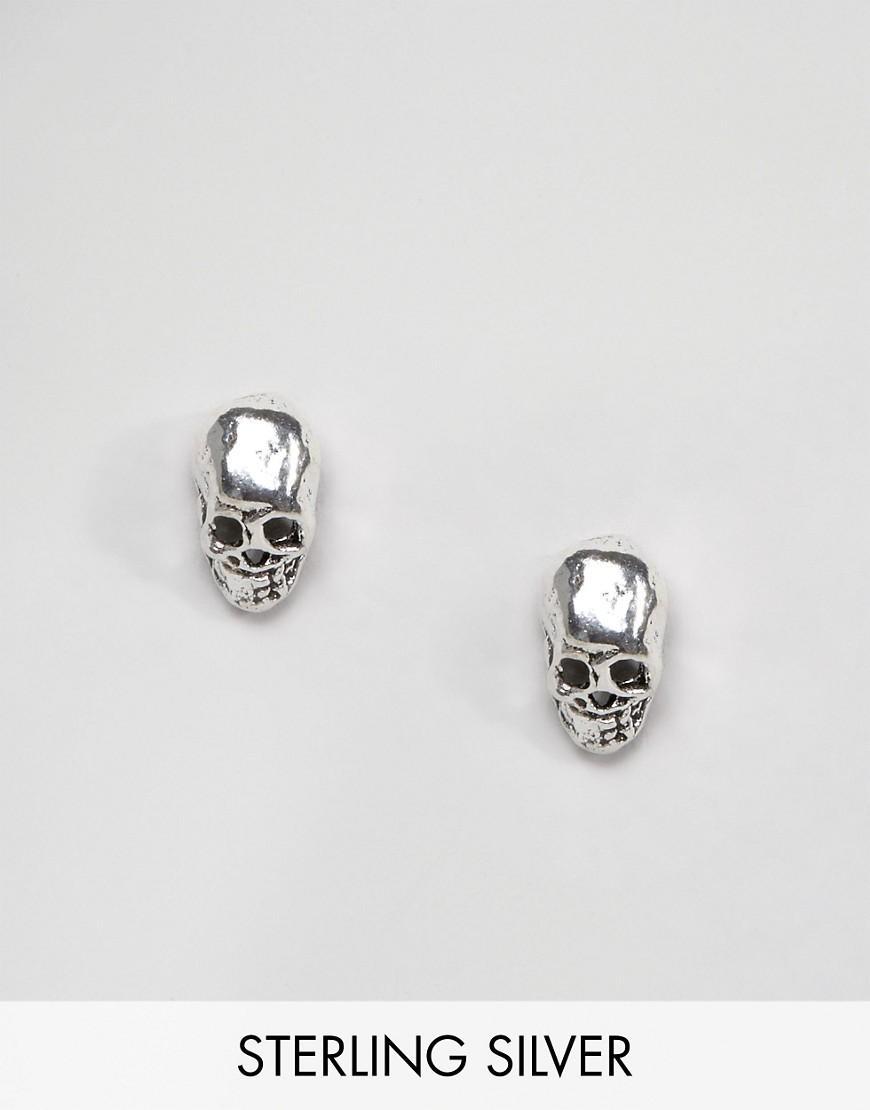 kingsley sterling silver skull stud earrings in