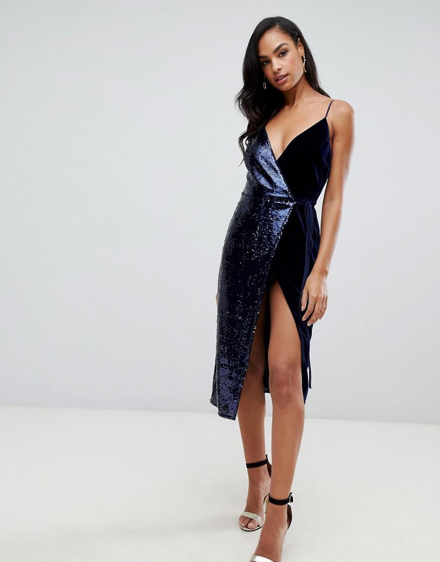 2e9c0c6f ASOS Sequin And Velvet Cami Wrap Midi Dress in Blue - Lyst