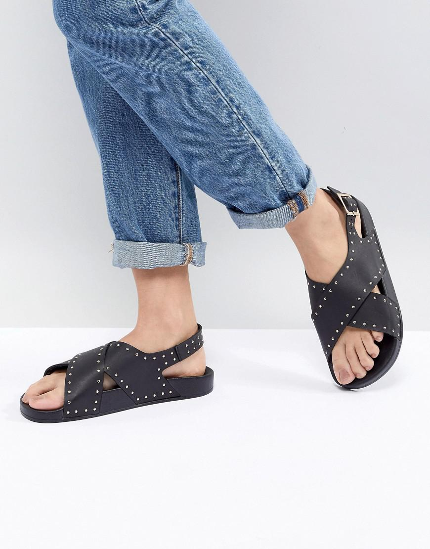 nicekicks cheap online discount really Office Supernova Black Studded Cross Front Sandals choice sale online CRymM9PEN