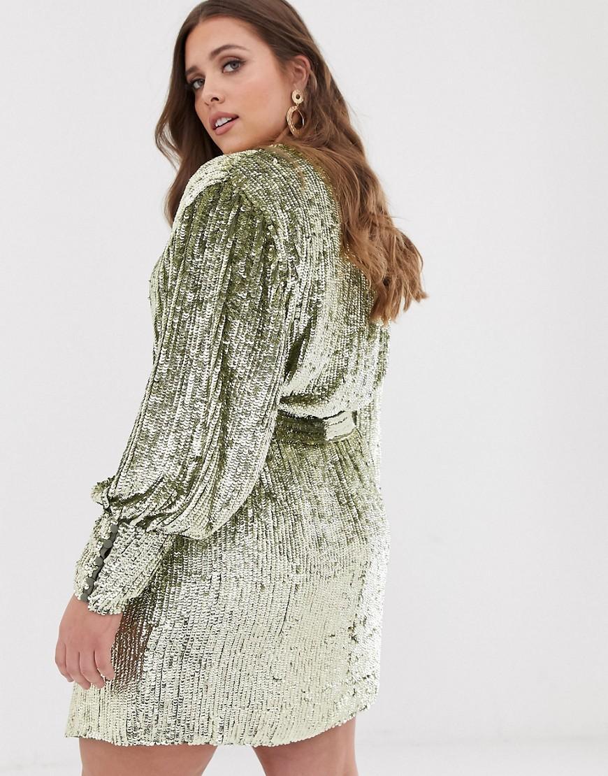 22f511cb4992 ASOS Curve Sequin Wrap Mini Dress in Green - Lyst