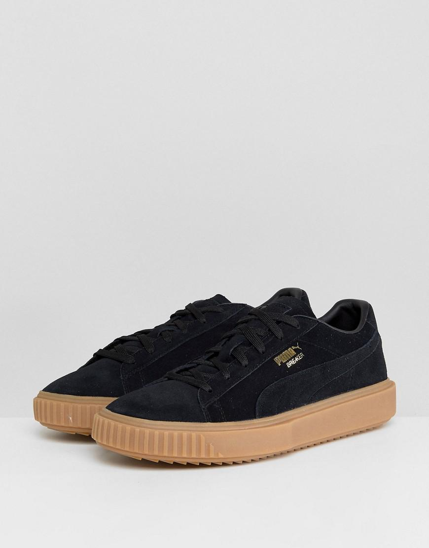 8d71a674b66217 PUMA Breaker Suede Gum Trainers In Black 36607901 in Black for Men ...