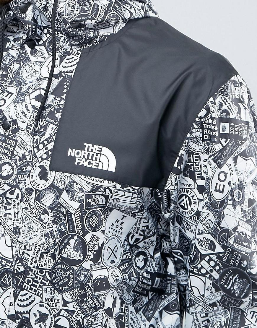 e96de76aede19 The North Face 1985 Mountain Jacket Hooded In White Stickerbomb Print in  Blue for Men - Lyst