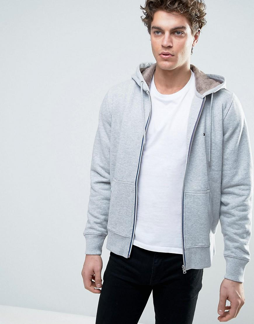 Tommy hilfiger Teddy Lined Zip Through Hoody in Gray for ...
