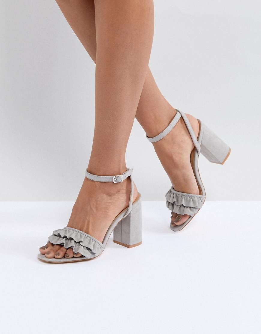 76de399effb Lyst - Truffle Collection Ruffle Block Heel Sandal in Pink