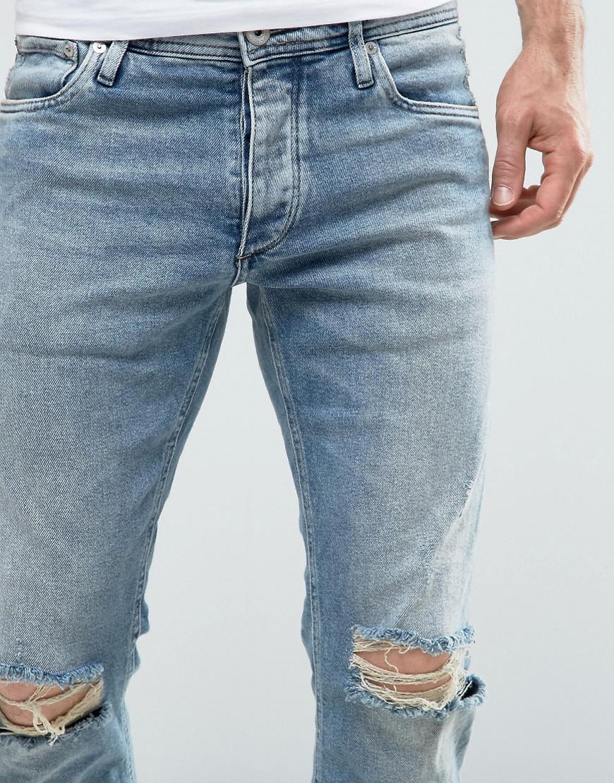 ff11b6a7 Jack & Jones Intelligence Slim Fit Jeans In Light Blue Wash With ...