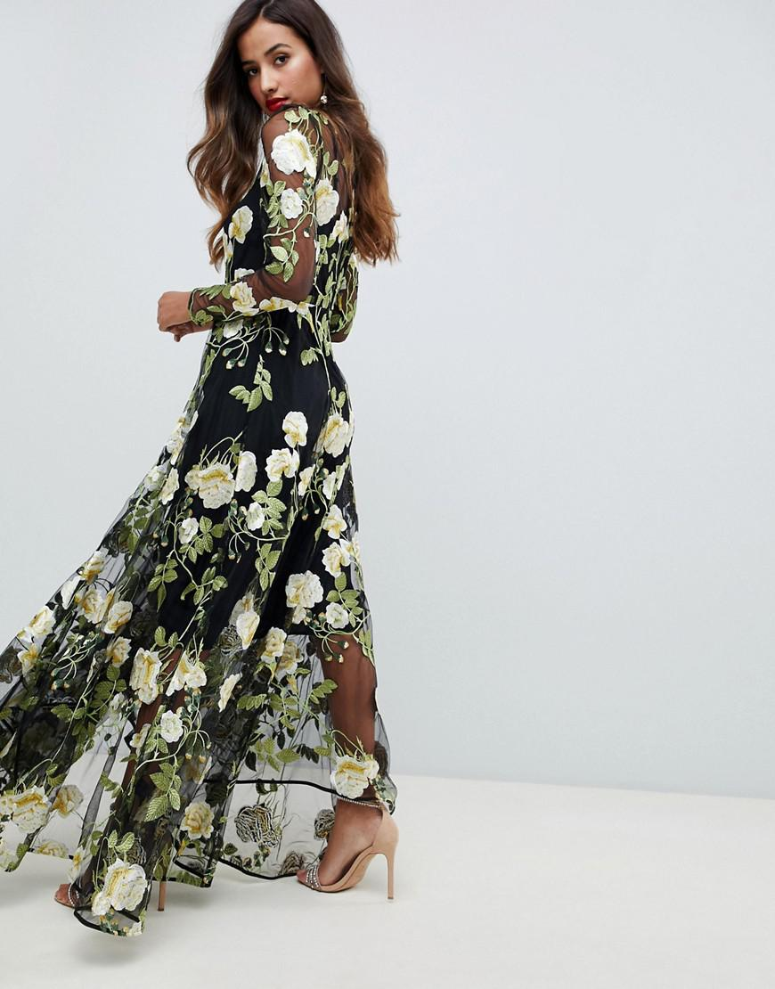 5903fa75c3 ASOS Floral Embroidered Maxi Dress With Cutabout Skirt - Lyst