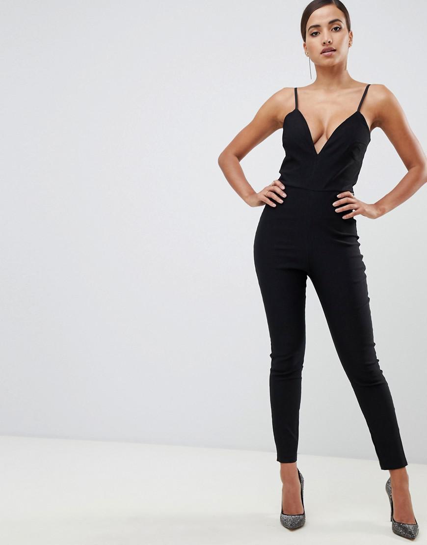 1b1fed8a1fe Vesper - Plunge Front Fitted Jumpsuit In Black - Lyst. View fullscreen