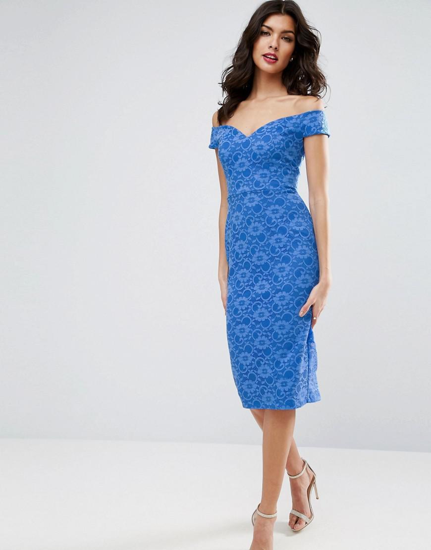 833f2b601438 Asos Lace Sweetheart Bardot Midi Bodycon Dress in Blue - Lyst