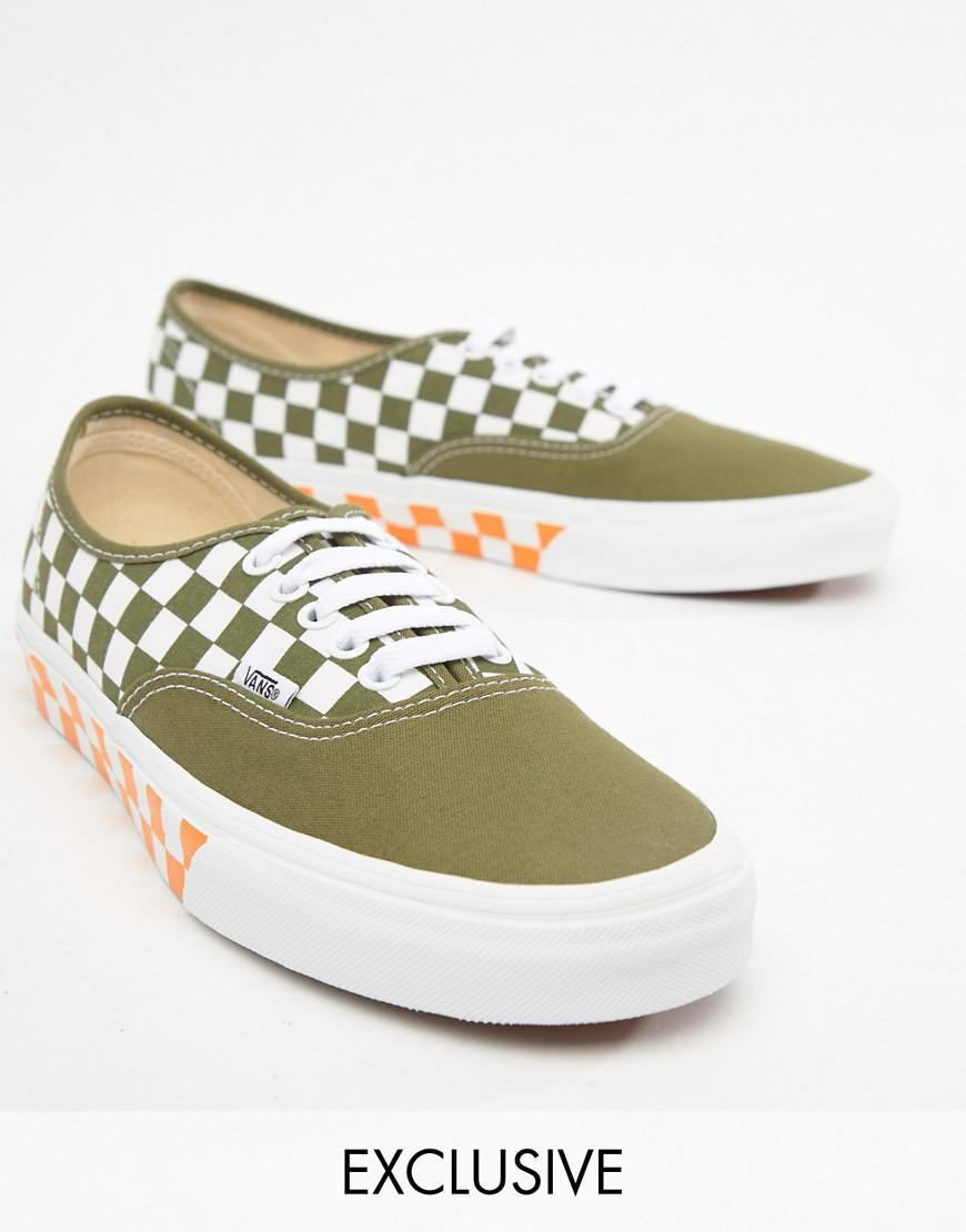 a63344f13a Vans Authentic Checkerboard Plimsolls In Green Exclusive At Asos in Pink for  Men - Lyst