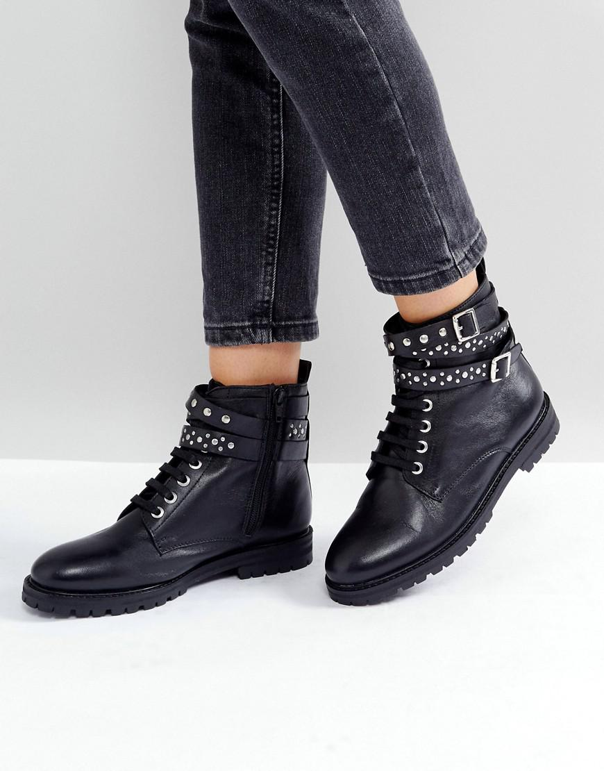 46b9271fd929d Park Lane Studded Leather Hiker Boots in Black - Lyst