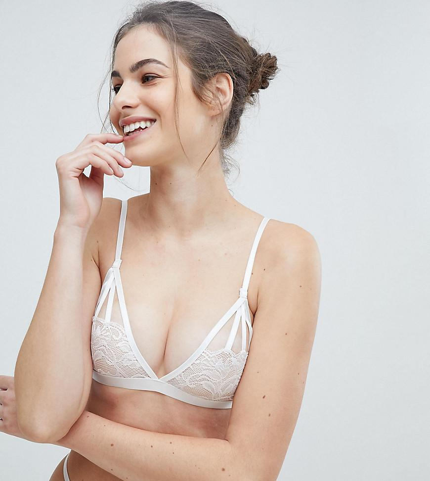 36dc80f65a Lyst - Wolf   Whistle Floral Triangle Bra in White