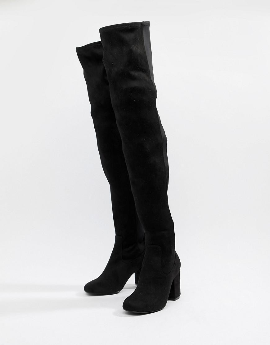 8476e1b43537 ASOS. Women s Black Asos Design Wide Fit Tall Kadi Heeled Over The Knee  Boots