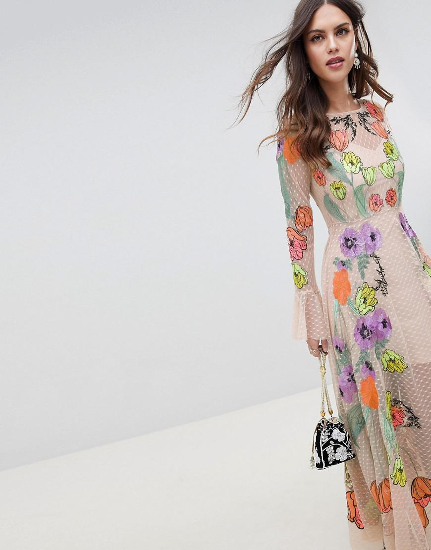 7873ab31c707a ASOS Embroidered Floral Maxi Dress in Natural - Lyst