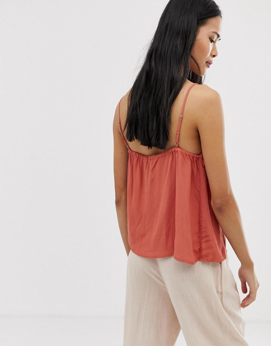 ad9a9a94a2829 Stradivarius Button Front Cami In Rust in Orange - Lyst