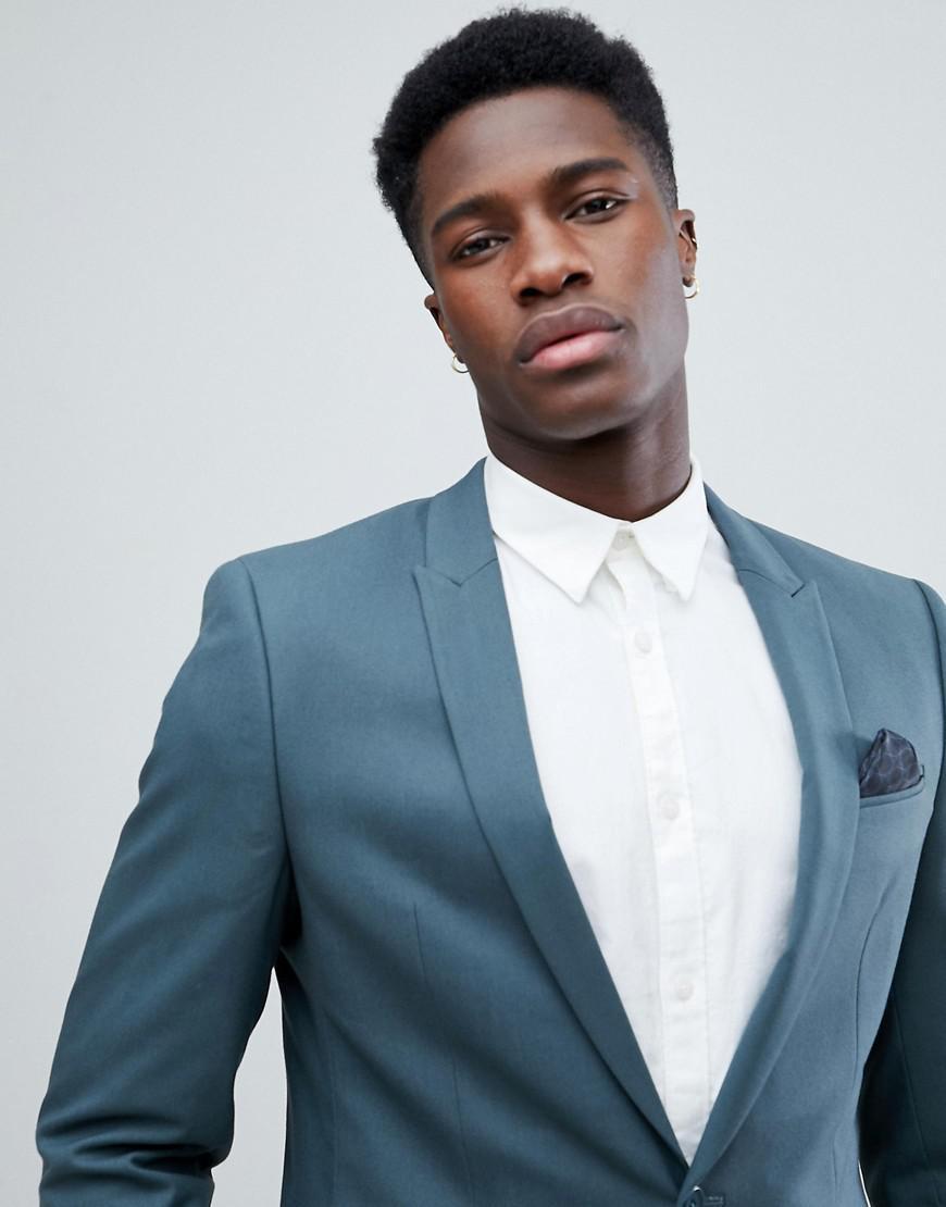 Lyst - Asos Skinny Suit Jacket In Petrol Blue in Green for Men