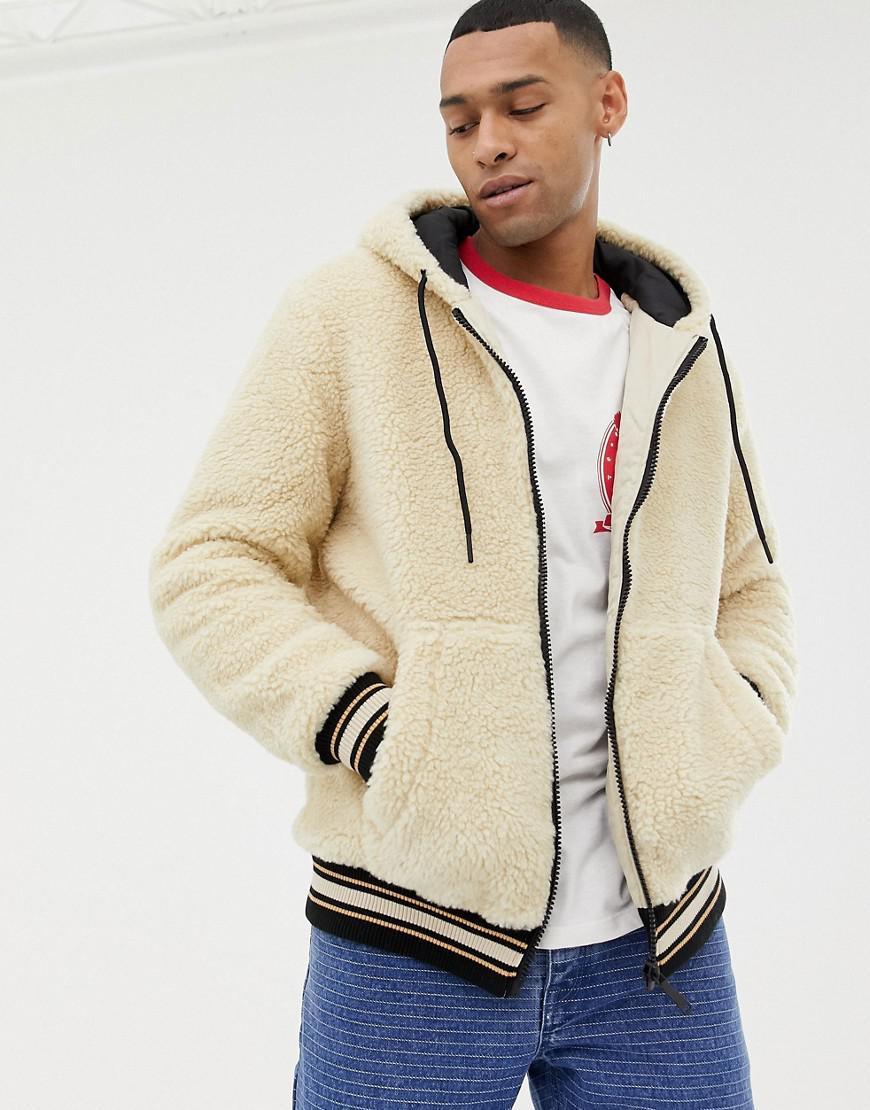 8be5851c1 Bershka Hooded Fleece Bomber Jacket In Sand in Natural for Men - Lyst