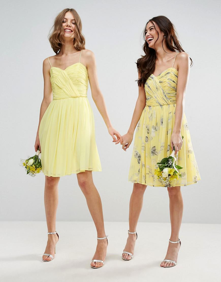 b7bb5974a41 ASOS Design Bridesmaid Ruched Mini Dress In Sunshine Floral Print in ...