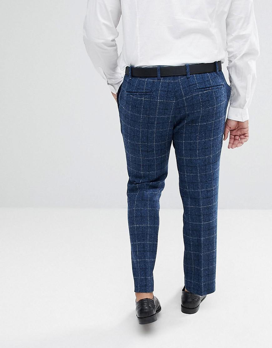 PLUS Slim Suit Trousers in 100% Wool Harris Tweed Herringbone In Blue Check - Blue Asos FHlrO