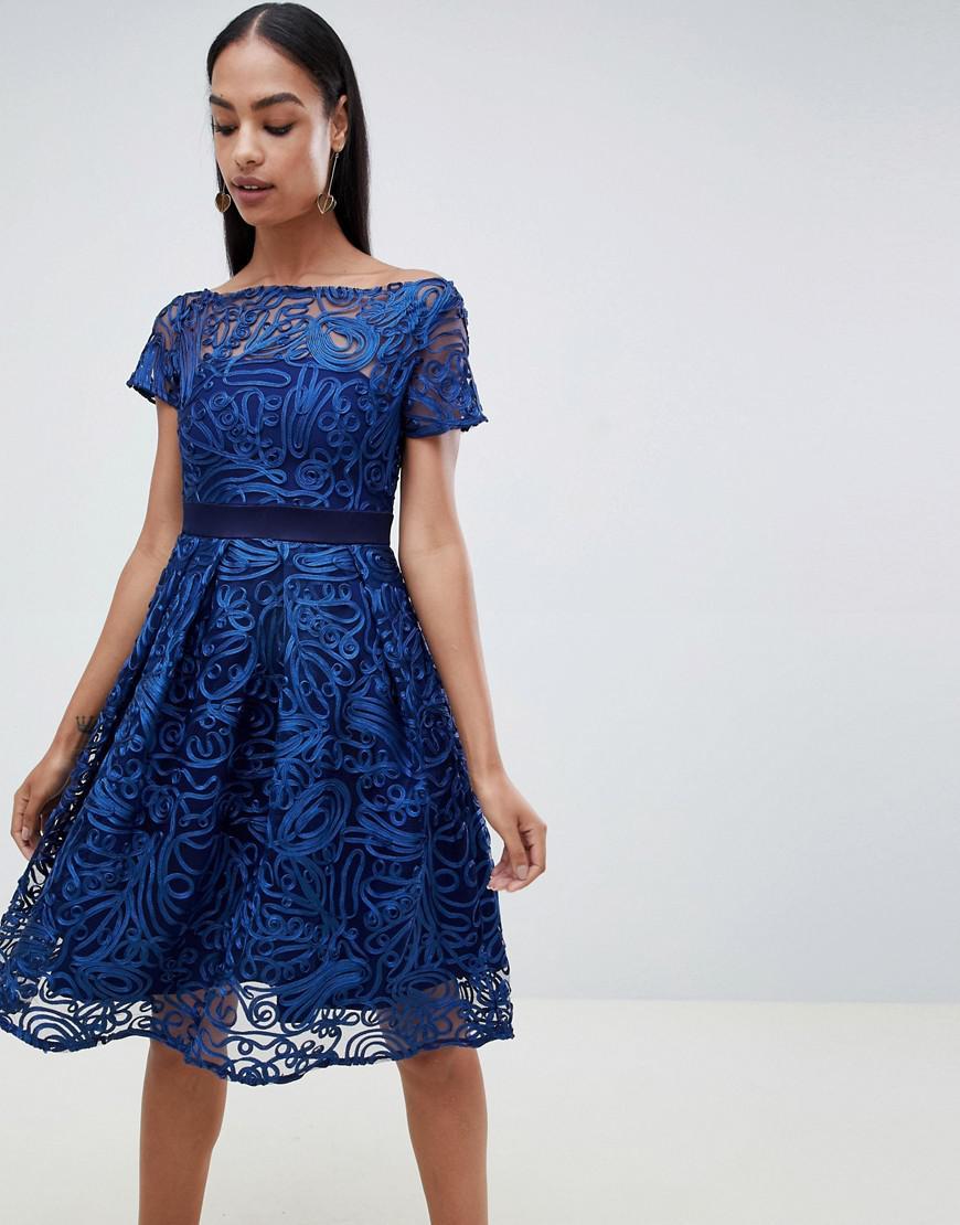 58bfaea5321 Lyst - Vesper Capped Sleeve Lace Skater Dress in Blue