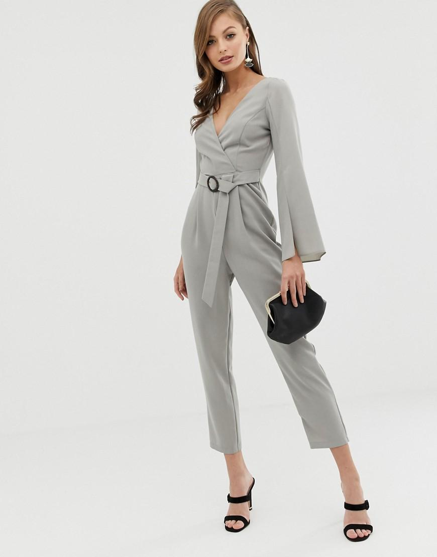 f4cae64d4ea7 ASOS - Gray Wrap Belted exaggerated Sleeve Jumpsuit - Lyst. View fullscreen