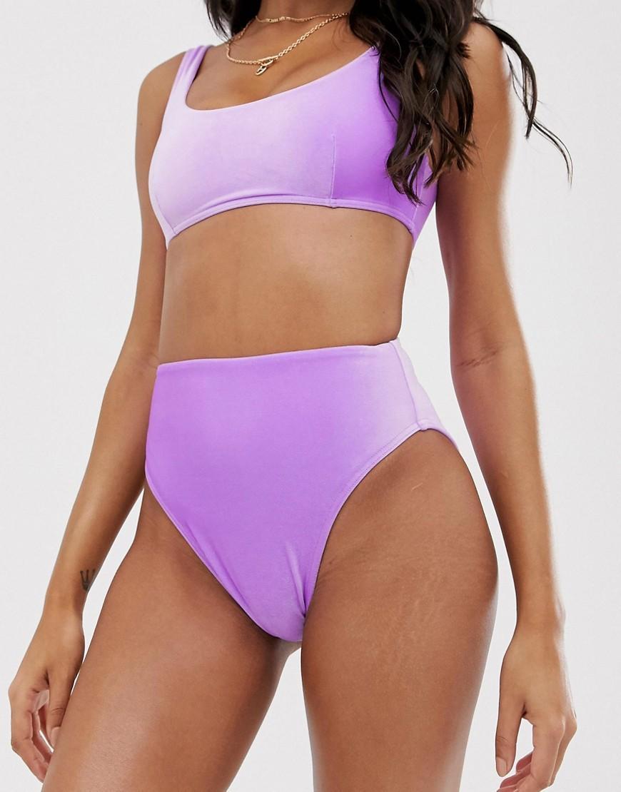 6660f88e797 Lyst - ASOS Mix And Match Velvet High Leg High Waist Bikini Bottom ...