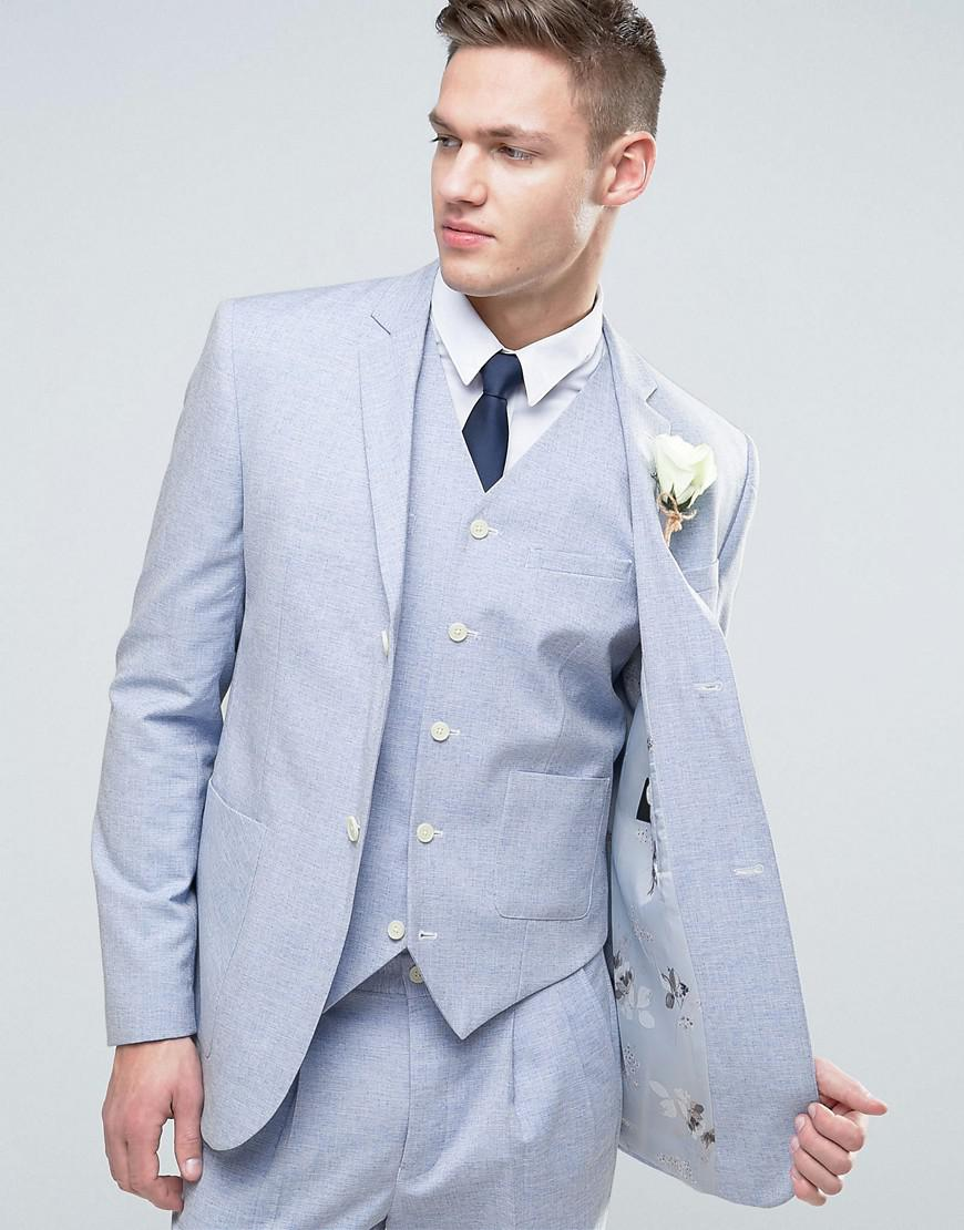Slim tie - Tonal, embroidered flowers in light blue Notch