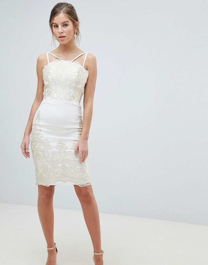 33df6ea236 Chi Chi London. Women s Natural Lace Detail Pencil Midi Prom Dress With V  Back