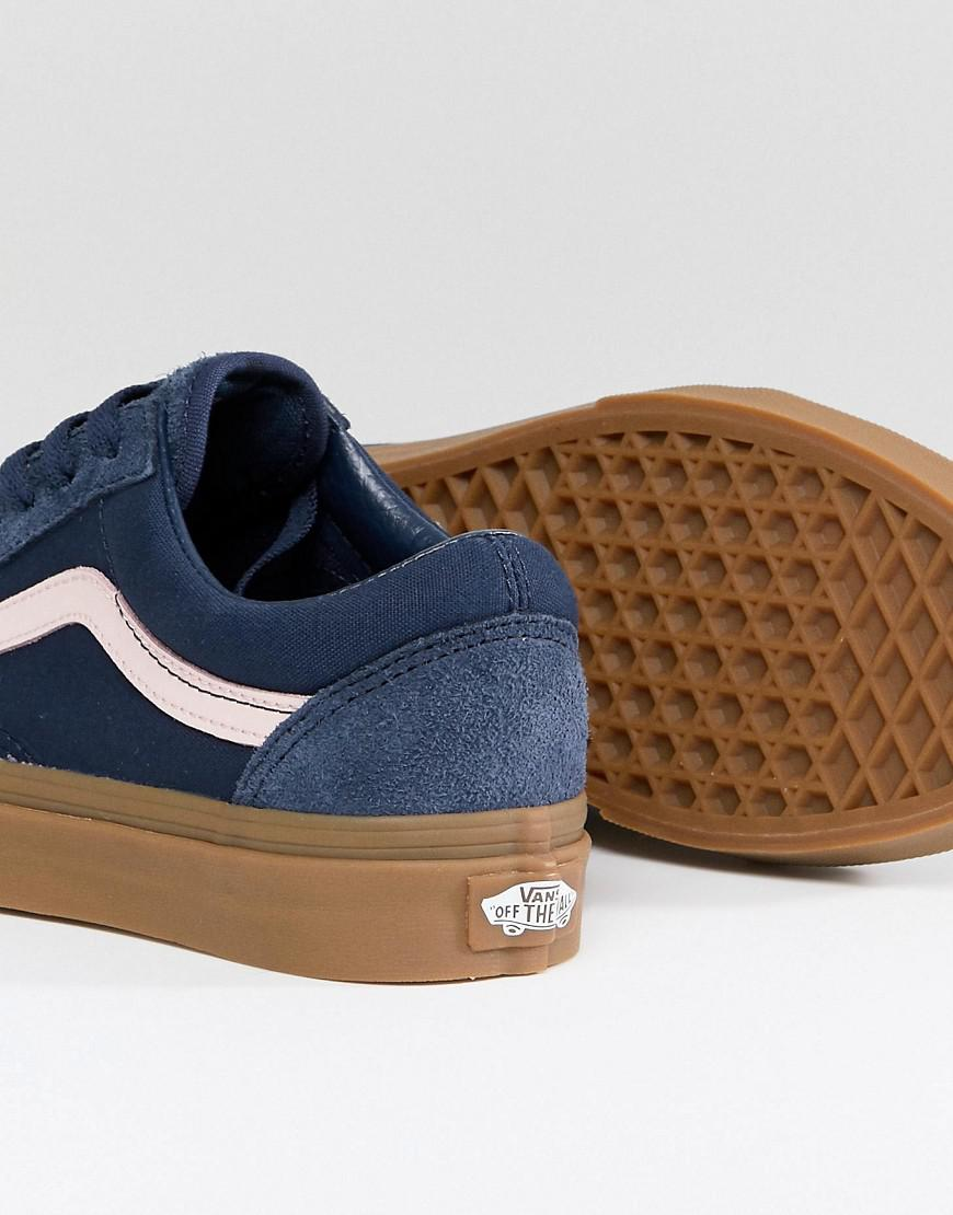 8128d7c51384 Vans Old Skool Unisex Trainers In Blue Fuzzy Suede With Gum Sole in ...