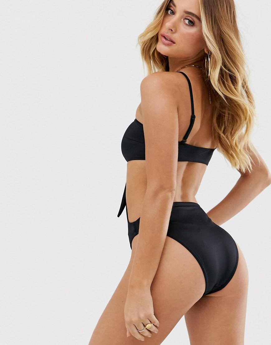 16596191a31 ASOS Cross Neck Cut Out Tie Detail Swimsuit In Black in Black - Lyst