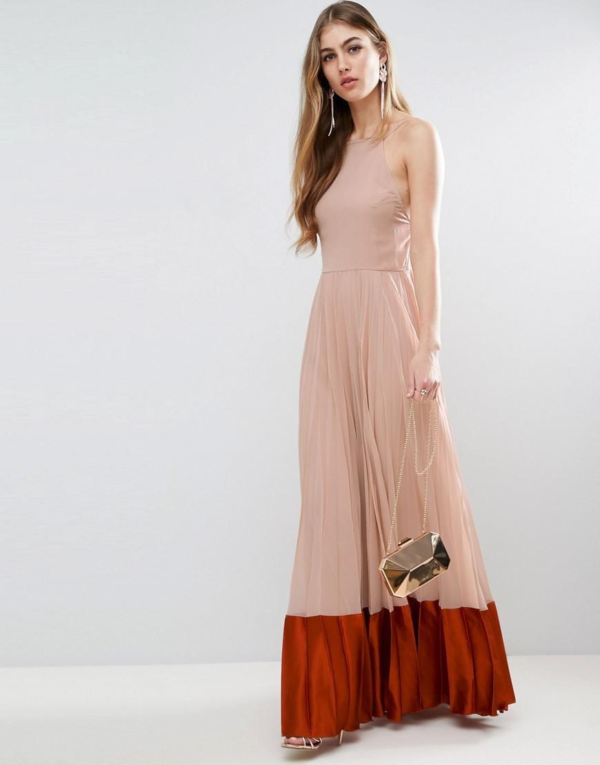 ASOS Pleated Panelled Satin Maxi Dress - Lyst