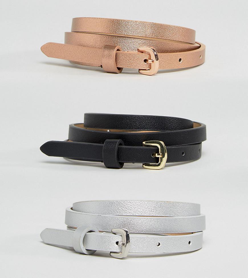 3 Pack Metallic Waist And Hip Belts - Multi Asos